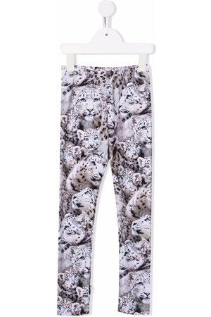 Molo Girls Leggings - All-over tiger print leggings - Neutrals