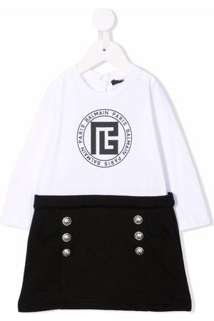 Balmain Baby Printed Dresses - Logo-crest print dress