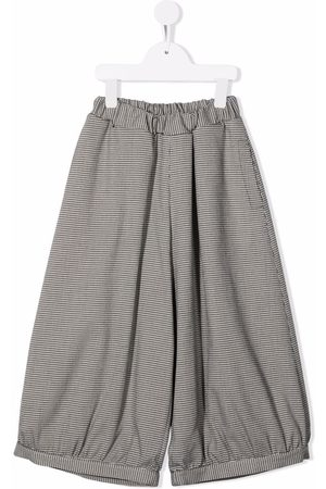 Mimisol Girls Wide Leg Pants - Houndstooth-check wide leg trousers