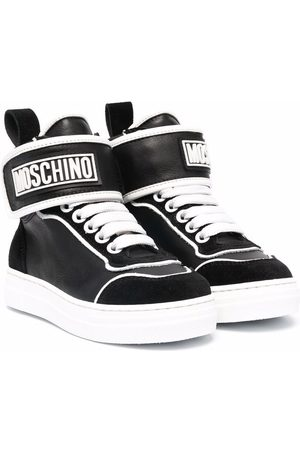 Moschino Boys Sneakers - Logo-print high-top leather sneakers