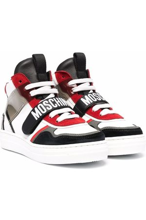 Moschino Boys Sneakers - Logo-print panelled high-top sneakers