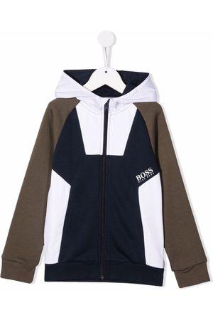 HUGO BOSS Colour-block zip-up hoodie