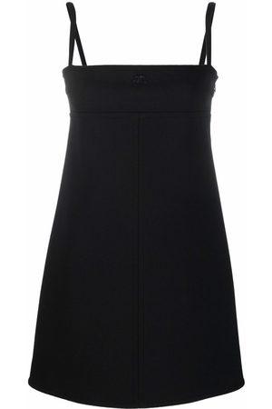 Courrèges Women Sleeveless Dresses - Logo-embroidered spaghetti-strap mini dress