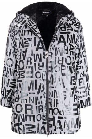 Emporio Armani Logo-print hooded raincoat - Grey