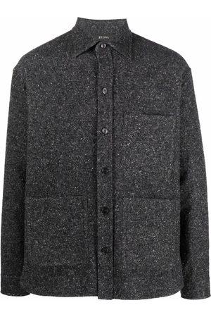 Z Zegna Men Jackets - Textured shirt jacket - Grey