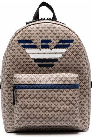 Emporio Armani Monogram print backpack - Neutrals