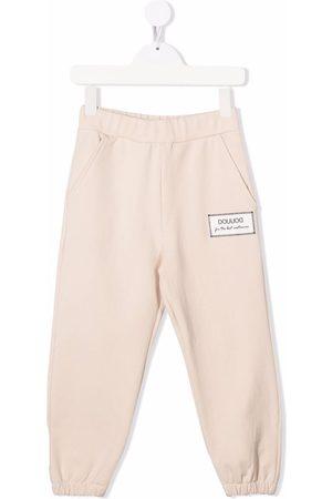 DOUUOD KIDS Boys Sweatpants - Logo-patch cotton track trousers - Neutrals