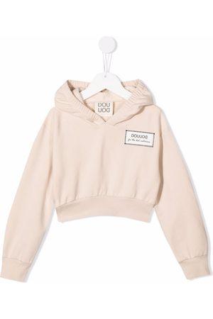 DOUUOD KIDS Logo-print cotton hoodie - Neutrals