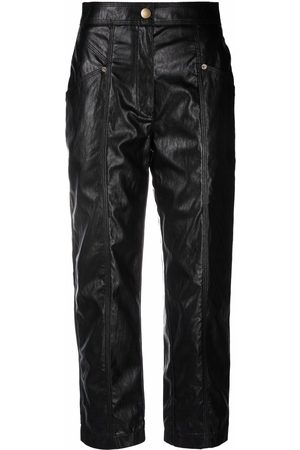 Twin-Set Women Leather Pants - Faux-leather cropped trousers