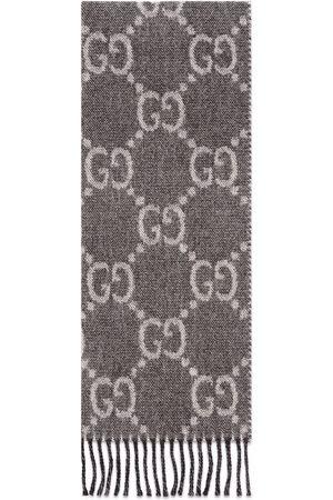 Gucci Men Scarves - GG jacquard pattern knit scarf - Grey