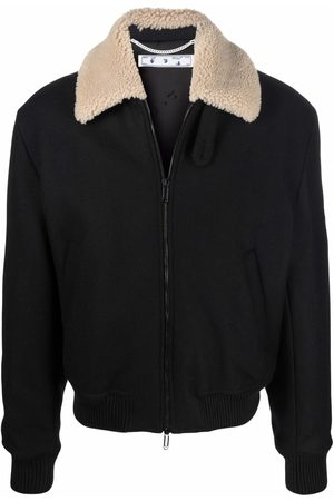 OFF-WHITE Men Leather Jackets - Contrast-collar aviator jacket