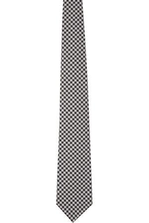 Comme des Garçons Men Neckties - Black & Grey Silk Houndstooth Tie