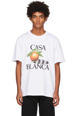 Casablanca Men T-shirts - White Orange Print T-Shirt