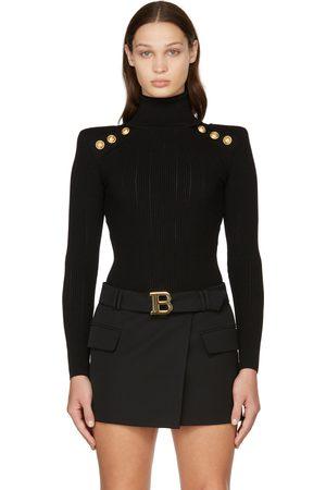 Balmain Women High Necks - Black Button Trimmed Turtleneck
