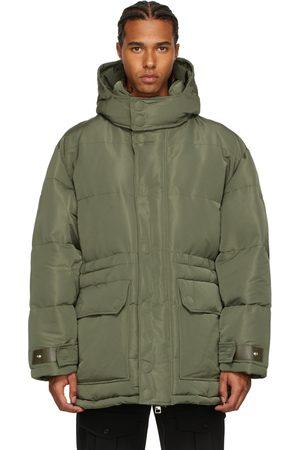 Alexander McQueen Khaki Faille Graffiti Puffer Jacket