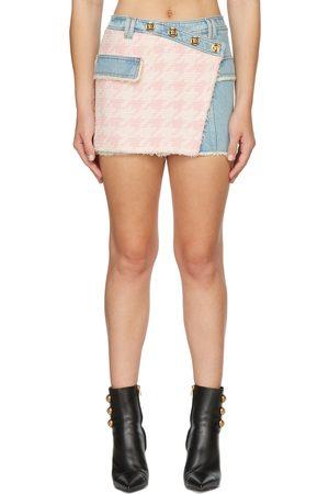 Balmain Women Mini Skirts - Blue & Pink Tweed Asymmetrical Miniskirt