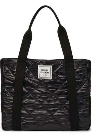 Opening Ceremony Women Tote Bags - Black Quilted Box Logo Tote Bag