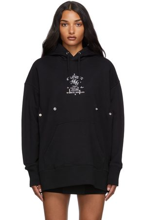Givenchy Women Hoodies - Black Fitted Crest Hoodie