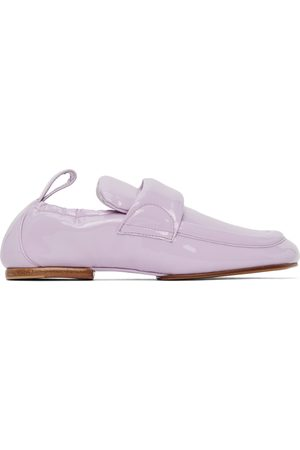 DRIES VAN NOTEN Women Loafers - Purple Patent Leather Padded Loafers