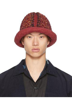 Nicholas Daley Men Hats - Red & Black Hand-Crocheted Bucket Hat