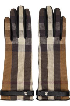 Burberry Women Gloves - Brown & Black Check Lambskin Gloves