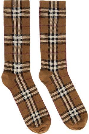 Burberry Women Socks - Brown Intarsia Check Socks