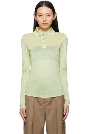 Burberry Women Polo Shirts - Green Louisa TB Long Sleeve Polo