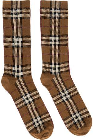 Burberry Men Socks - Brown Intarsia Check Socks
