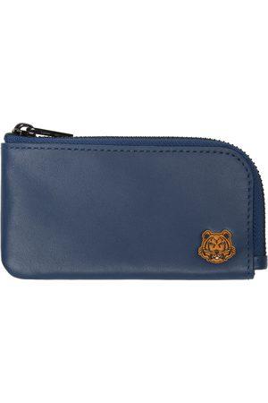 Kenzo Men Wallets - Blue Tiger Crest Zip Card Holder