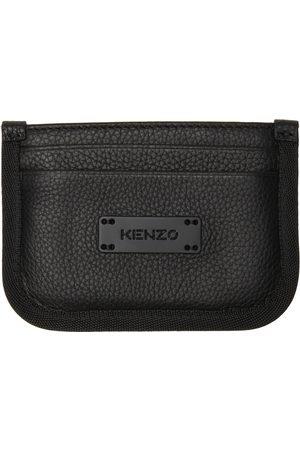 Kenzo Men Wallets - Black Leather Courier Card Holder