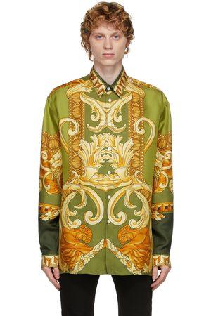 VERSACE Men Shirts - Green Silk Medusa Renaissance Shirt
