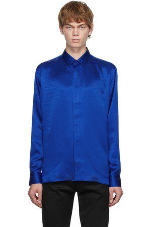Saint Laurent Men Shirts - Blue Silk Satin Shirt