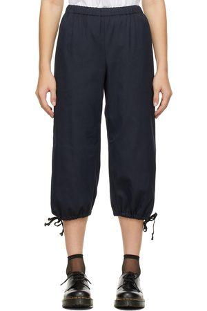 Comme des Garçons Women Straight Leg Pants - Navy Straight-Leg Drawstring Trousers