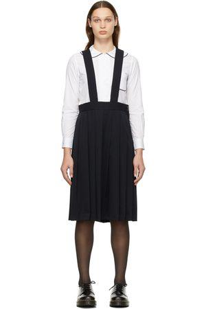 Comme des Garçons Women Underwear Accessories - Navy Wool Gabardine Suspender Skirt