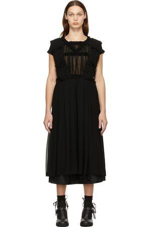Comme des Garçons Women Midi Dresses - Black Georgette Suspender Dress