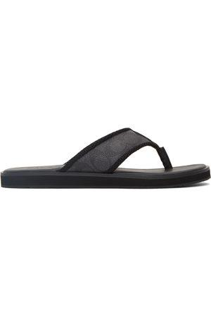Coach Men Flip Flops - Black Signature Flip Flops
