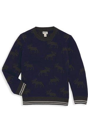 Hatley Sweatshirts - Little Boy's & Boy's Moose Intarsia Rib-Knit Sweater