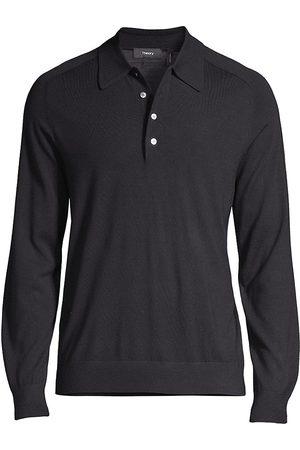 THEORY Men Polo Shirts - Long-Sleeve Heathered Polo Shirt