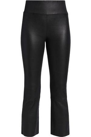 SPRWMN Women Leggings - Leather Crop Flare Leggings