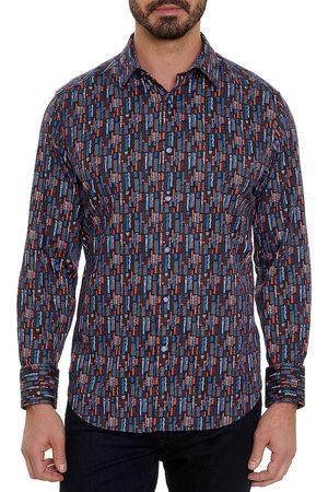 Robert Graham Men Denim - Broken Block Print Stretch Shirt