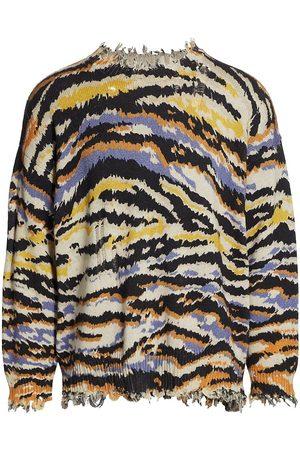 R13 Men Sweatshirts - Zebra Print Distressed Sweater