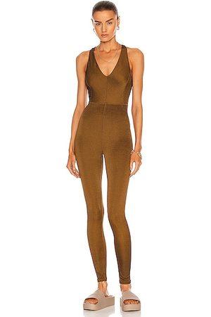 TWENTY MONTREAL Colorsphere Rib Cross-Back Jumpsuit in Brown