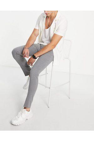 Bolongaro Stripe seersucker skinny fit suit pant-Grey