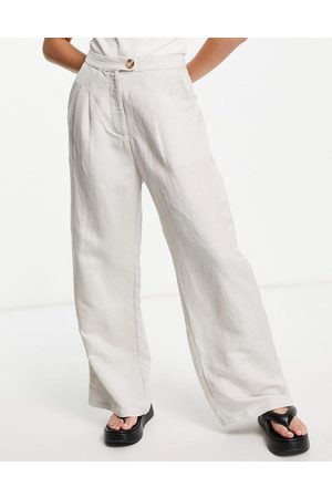 Emory Park Wide leg pants in textured natural fabric-Neutral