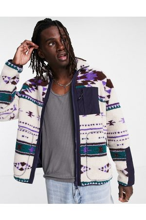 ASOS Fleece walker jacket in geo print-Neutral