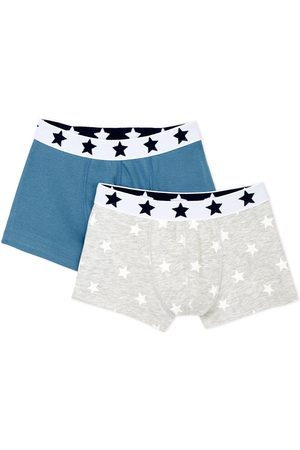 Petit Bateau Boys Boxer Shorts - 2 Pack of Grey Star Boxers - 3 years - Grey - Boxers