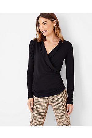 ANN TAYLOR Women Wrap tops - Petite Shawl Collar Wrap Top