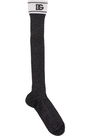 Dolce & Gabbana Women Socks - Logo Viscose & Vynil Effect Knee Socks