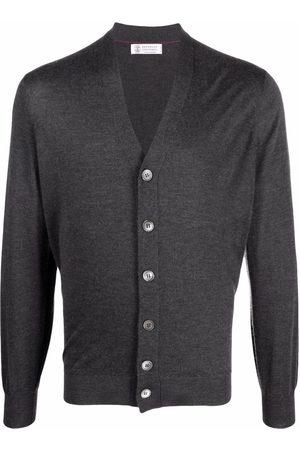 Brunello Cucinelli Men Cardigans - V-neck cashmere-silk cardigan - Grey
