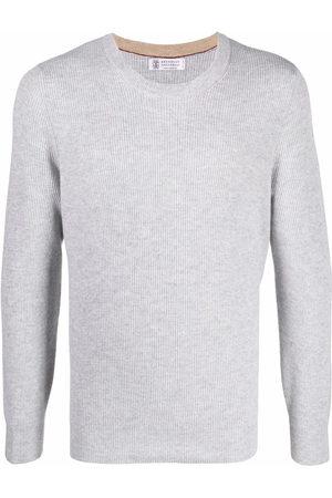 Brunello Cucinelli Men Sweatshirts - Ribbed-knit cashmere jumper - Grey